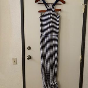 Blue and white striped halter maxi dress